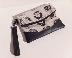 Foldover Clutch Purse  Wristlet Bag Owl Print fabric Faux