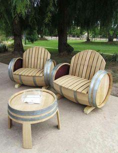 Garden set made of wooden barrels...