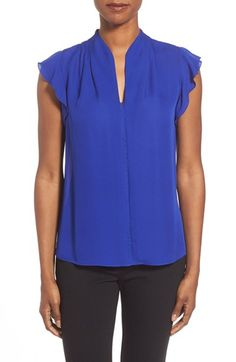 Elie Tahari 'Judith' Flutter Sleeve Silk Blouse available at #Nordstrom