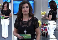 Look da Fátima Bernardes no Encontro dia 16 de junho