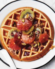 Golden Waffles with Tropical Fruits