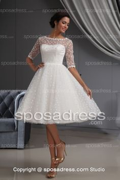 Short Lovely Bateau Neckline Princess Lace Wedding Dress With Sleeves