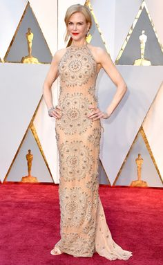 Nicole Kidman in a a peach Armani Prive dress - click through for more best dressed at the 2017 Oscars