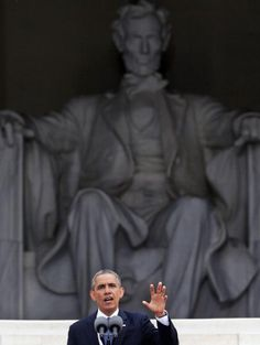 President Obama in front of Lincoln Memorial, Aug 28, 2013