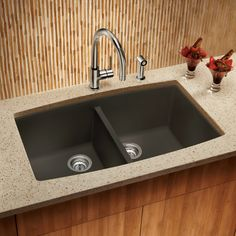 Shop BLANCO Performa 20-in x 33-in Cafe Brown Double-Basin Granite Undermount Residential Kitchen Sink at Lowes.com