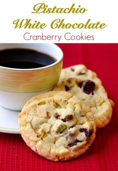 These white chocolate cranberry cookies also have chunks of crunchy pistachio nuts. Bake off as many as you like and then refrigerate the remaining dough for days. An ideal cookie for the Holiday Season.