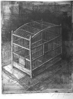 Safet Zec(Bosnian, b.1943)  Bird Cage 2005 etching & drypoint  http://iamjapanese.tumblr.com/post/8172301235/safet-zec-bosnian-b-1943-bird-cage-2005#_=_