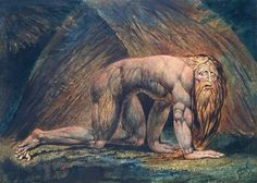 William Blake, Nebuchadnezzar, 1795/c.1805, colour print, 54.3 x 72.5 cm, Tate Collection. Source  The story of King Nebuchadnezzar II is described in the Old Testament's Book of Daniel. Legend has it the Babylonian king became so obsessed with his own image that he was punished by God for his extreme pride. Nebuchadnezzar eventually lost his mind, his behaviour comparable to that of a wild animal. This seems to be what Blake decided to focus on in his depiction of the king.