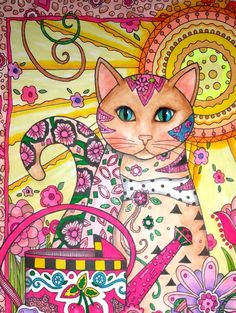 Spring Kitty in Garden Brilliant Colors of by extremecolorist