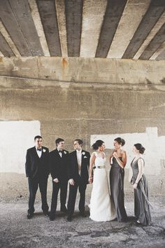 Fun to see the wedding party in all their finery in this rustic run-down setting ;)
