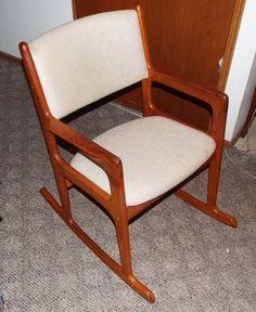 Vintage BENNY LINDEN ROCKER Danish Style Mid Century Modern Teak Rocking Chair #DanishModern #BennyLinden