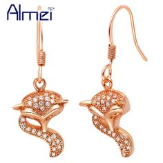 Find More Drop Earrings Information about Fashion Wholesale Fox Drop Earrings for Women 2016 Hot l Rose Gold/Platinum Plated CZ Zircon with Crystal Jewelry Earrings R579,High Quality earring posts and backs,China earrings for top of ear Suppliers, Cheap earrings for gauged ears from Almei Jewelry Store on Aliexpress.com
