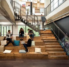 Introducing the anti-office London Office Design >> Every Space is a Collaboration Space >> This feature collaboration staircas Creative Office Space, Office Space Design, Workplace Design, Office Designs, Office Spaces, Timber Staircase, Stairs, Industrial Office Space, Industrial Design