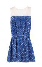Blue Sleeveless Insert Lace Top Dots Dress - Sheinside.com