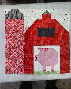 Barn with pig for Korban ' s quilt.  #farmgirlvintage #korbanquilt