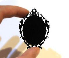 Black Laser Cut Acrylic Frame Setting for 40x30 Cabochon Cameo 40x30mm Vintage Victorian Art Nouveau