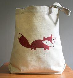 Canvas tote bag, fox, happy cute and adorable. Sturdy 100% 10oz. cotton canvas.. $16.00, via Etsy.