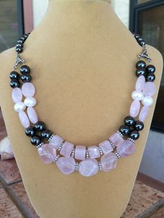 Gorgeous double strand rose quartz, pearl, and genuine hematite necklace by RealBeadDesigns on Etsy
