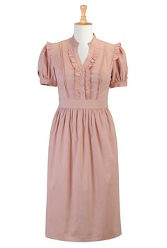 #eShakti, Dresses, Chambray Dress, Peach, Pastels, Pastel Dress, Cotton Dress, Ruffles, Feminine Dresses