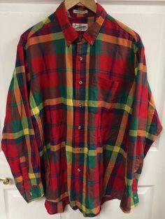 Sears Roebuck Vintage Bright Plaid Button-Up Mens Shirt Long Sleeve XL X-Large #SearsRoebuck