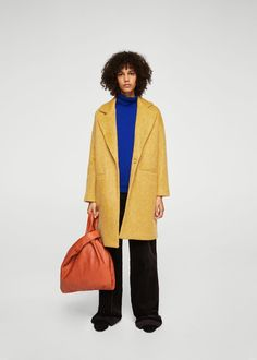 Unstructured mohair-blend coat - f foCoats Woman | MANGO Slovakia