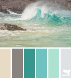 Love the colors of a crashing wave as it hits the shore, shades of green and aqua. Design Seeds color card.