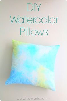 pretty watercolor pillow covers - all you need is some craft paint!