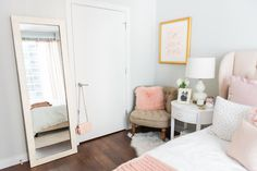 Blogger Jessica Sturdy of @bowsandsequins shares her Chicago Parisian-chic bedroom design. // Blush Pink, White, & Gold
