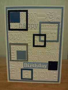 Masculine birthday card, but could be a quilt design! Homemade Birthday Cards, Birthday Cards For Boys, Masculine Birthday Cards, Bday Cards, Happy Birthday Cards, Homemade Cards, Male Birthday, Masculine Cards, Z Cards