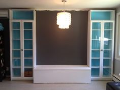 DIY Ikea Billy Bookcase Makeover - cool idea to something like this for my living room window! Bookcase Makeover, Closet Door Makeover, Ikea Furniture Makeover, Home Furniture, Alhamdulillah, Dining Room Bench, Banquette Bench, Dining Table, Ikea Dining