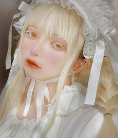 "𝑳𝒐𝒘 on Twitter: ""ドールメイクのつもり… "" White Aesthetic, Aesthetic Girl, M Anime, Pastel Outfit, Ulzzang Korean Girl, Hair Reference, Kawaii Clothes, Cute Makeup, Cute Korean"