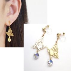Butterfly Invisible Clip On EarringsCrystal Clip On by MiyabiGrace