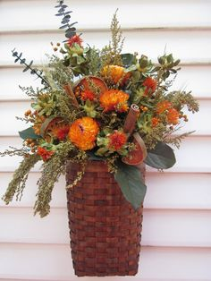 Fall ... Wall Basket Dried Flower Arrangement With Cinnamon Sticks Fall Flowers