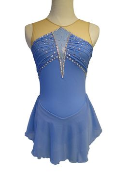 www.sk8gr8designs.com Custom periwinkle figure skating dress with Swarovski rhinestones