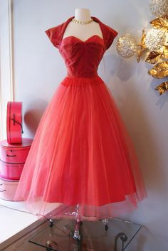 Vintage 1950s Dress // 50's Deep Pink Velvet and by xtabayvintage, $198.00