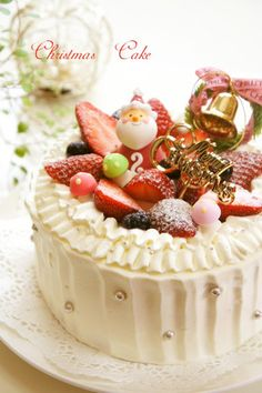 """This is a pretty cake for Christmas. You can change the decorations and use it as a birthday cake as well! Recipe by nyonta"" Sweets Recipes, Cake Recipes, Snack Recipes, Food Cakes, Pretty Cakes, Cute Cakes, My Dream Cake, Japanese Christmas Cake, Easy Christmas Treats"