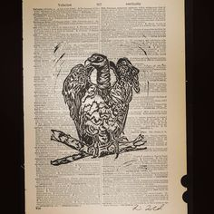Series: When you read you begin with A.B.C. Title: V is for Vulture #bird #lorraineimwoldart #dictionary #vintage #feathers #scavenger http://ift.tt/1UQvAOD