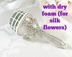 DRY FOAM jeweled bouquet holder silver pearl by UptownGirlzz