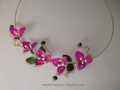 How to make Wire flowers with nail polish / Цветы из проволока и лака для ногтей by semeistvoadams.blogspot.com