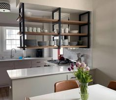 Ceiling Mounted Floating Shelf Brackets – Iron HomeYou can find Kitchens and more on our website.Ceiling Mounted Floating Shelf Brackets – Iron Home Kitchen Furniture, Kitchen Interior, Kitchen Decor, Kitchen Ideas, Kitchen Layout, Diy Kitchen, Coastal Interior, Eclectic Kitchen, Kitchen Modern