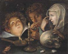 """Attributed to Jaques de Gheyn II (Antwerp 1565-1629) """"A vanitas allegory"""""""