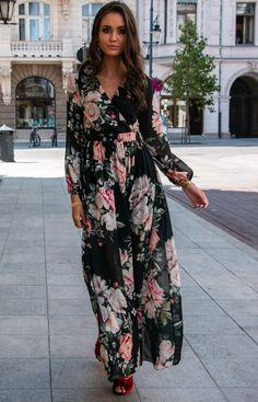 Roco Stylowa sukienka maxi w kwiaty 0219/D37 Dresses With Sleeves, Long Sleeve, Clothes, Fashion, Outfits, Moda, Clothing, Gowns With Sleeves, Fashion Styles