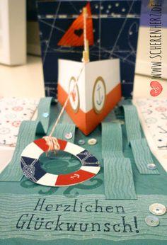 Explosiponsbox - Eine Schiffahrt die ist lustig Explosionsbox nachgebastelt von Wertschatz.  In den Farben Lagunenblau, Marineblau und Wassermelone www.scherenherz.de Stampin'Up                                                                                                                                                                                 Mehr