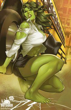 She-Hulk pin-up art by Elizabeth Torque