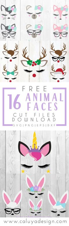 16 Free Animal Face SVG Cut Files You Must Download: adorable animal face SVG cut file download. Fox SVG cut file, Unicorn SVG cut file, Bear SVG cut file, bunny SVG cut file, reindeer SVG cut file, deer SVG cut file, free SVG cut file download for personal use, compatible with Cricut, Cameo Silhouette and other major cutting machines.