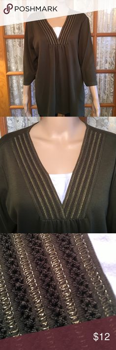 "CJ Banks Olive Green Gold Thread Neckline 2X 60% cotton 40% polyester. Bust is 52"". Length is 28"". Sleeves are 3/4. Super soft. Excellent condition and comes from my non smoking home cjbanks Tops"