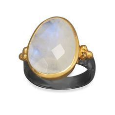 Two Tone Faceted Moonstone Ring