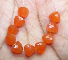 Fiery 38 Ct Natural Brazil Cornelian Faceted Pyramid 8-9 MM Loose 10 Drop Layout