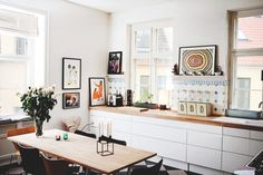 placard blanc + plan travail bois