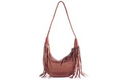 Small subtle leather hobo bag. Zipper closure with long fringe tassel pull. Features intricately hand braided shoulder strap. Swaying fringe detail on each side.